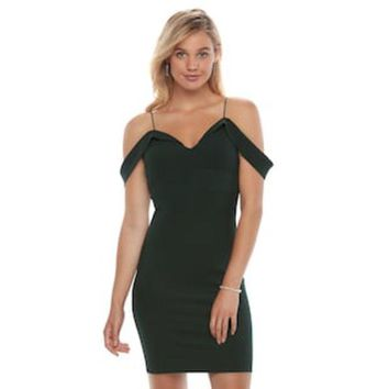DCCKX8J Juniors' Almost Famous Off-The-Shoulder Bodycon Dress | null