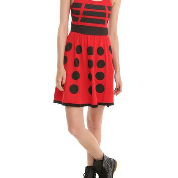 Licensed cool BBC DR Doctor Who Costume RED DALEK ROBOT Cosplay A-Line Skater Dress  JUNIORS M