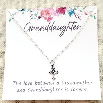 Cross Necklace - Granddaughter Gift - Children's Sterling Silver Jewelry
