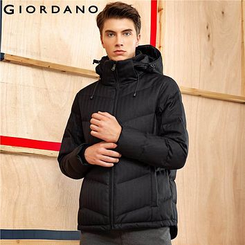 Giordano Men Downs Jackets Hooded Long Sleeves Black Down Coat Outerwear Windproof Warm Clothing Vetement Parkas Puffer