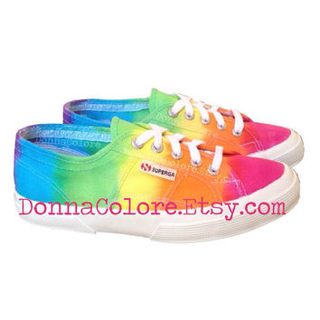 Tie Dye Superga Rainbbow 2750 Cotu Classic by DonnaColore on Etsy