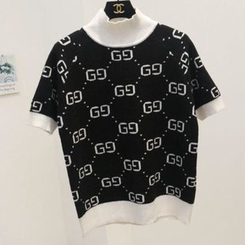 PEAPIH3 GUCCI new autumn and winter high-necked short-sleeved double g letter sweater women Black+white collar