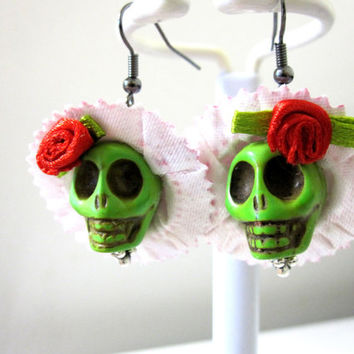Sugar Skull Earrings Day Of The Dead Green Pink Hat Bow Rose