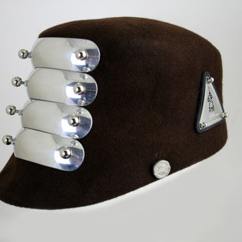 unisex brown wool felt hat cap military style head wear unusual unique