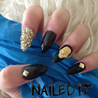 NAILED IT! - Hand painted false nails - 3D studded black grunge - gold glitter, studs, skulls!