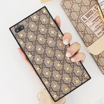 GUCCI Fashion Star Rivets Personality Silicone iPhone Phone Cover Case For iphone 6 6s 6plus 6s-plus 7 7plus 8 8plus X I13396-1