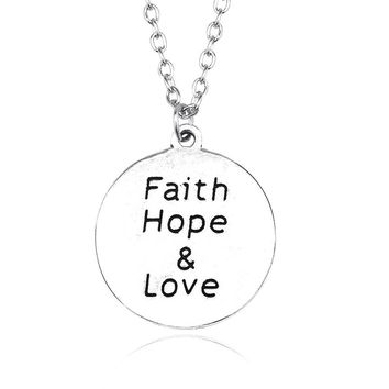 "Creative Round Silver Pendant Necklace ""Faith Hope & Love"" Heart Of The Yearning Letters Enamel Pendants Necklaces Ornaments DIY"