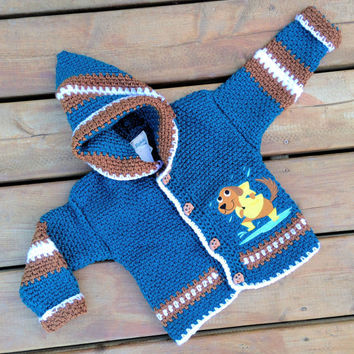 Children's sweater ( Handmade Crochet Children's hoodie with dog embroidery and puppy buttons and Hood ) -  Children's Hoody Size 3