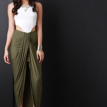 Contrast Side Cutout Tulip Maxi Dress