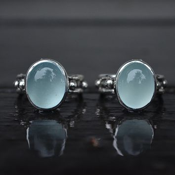 Aquamarine Eight Point Ring Sizes 7 & 8