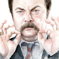 Ron Swanson Portrait, Art Print, Parks and Recreation Fan Art, Giclee Home Decor