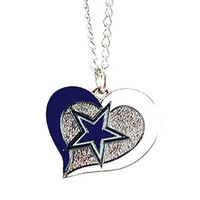 Dallas Cowboys Swirl Heart Necklace