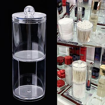 Creative Clear Acrylic Storage Holder Jar Transparent Cotton Swabs Stick Cosmetic Makeup Organizer Case Makeup Cotton Pad Jar