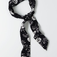 AEO Black Floral Tie Headband, Black