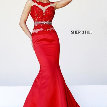 Sherri Hill Fitted Formal Red Dress 32033