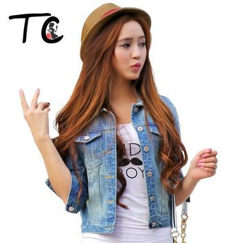 TC Women Jeans Jackets Short Tops 2017 Spring Autumn Long Sleeve Denim Coat Ripped For Women Clothing Chaquetas Mujer AT00168