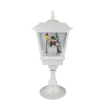 """25.25"""" Lighted Musical Snowman Snowing Table Top Christmas Street Lamp"""