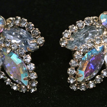 1950s 50s WEISS Rhinestone Earrings Clip On Earrings Blue Rhinestone Mid Century Midcentury Hollywood Regency High Fashion Designer Name