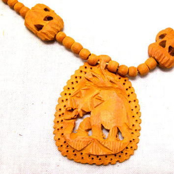 Hand, Carved, Wood, Elephant, Pendant, Bead, Necklace, Traditional, African, Indian, Artisan, Statement, Brass, Screw, Clasps, Carved, Art