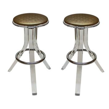 Pre-owned Charles Hollis Jones Lucite Bar Stools - A Pair