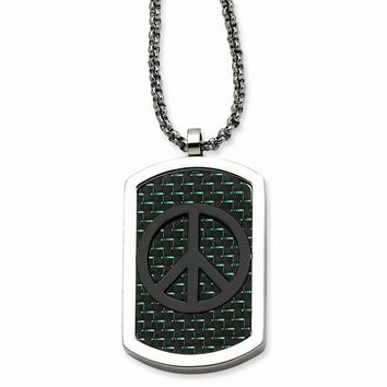 Stainless Steel Cross & Peace Symbol Reversable Dog Tag 22in Necklace