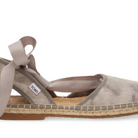 TOMS Dove Grey Washed Suede Women's Bella Espadrille Grey