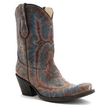 Corral Brown Turquoise Stitched Boots G1121