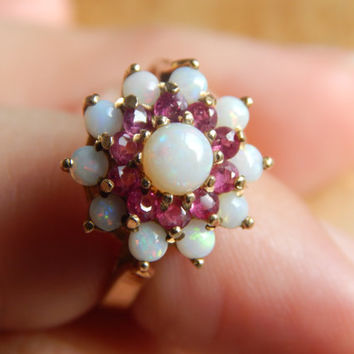 Hallmarked 9ct Gold Opal and Ruby Cluster Ring - 1970s jewelry - Vintage 9ct Gold Ring - Gold Opal and Ruby Ring - Vintage Cluster Ring