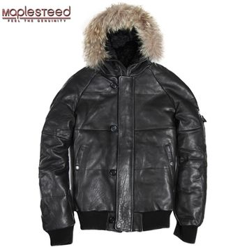 Factory Genuine Leather Duck Down Jacket Men Hood Real Sheepskin Air Force Pilot Thick Bomber Real Fur Parkas Winter Coat ZH144