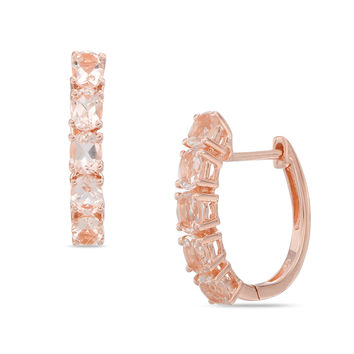 Oval Morganite Five Stone Hoop Earrings in Sterling Silver and 14K Rose Gold Plate