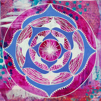 Mandala Painting - Mandala Art - Fine Art - Pink Mandala - Meditation Mandala - Original Art - Mixed Media Mandala - Home Decor, Wall Art