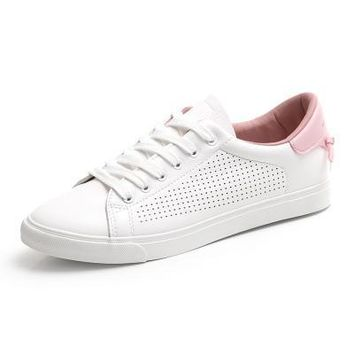 New HUANQIU Women's Leather White Sneakers