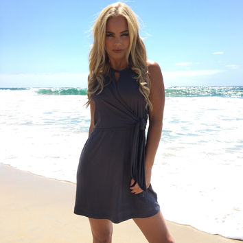 Unsided Wrap Dress In Charcoal Grey