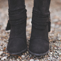 Buckles And Straps Black Suede Boots