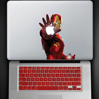 Red Keyboard Cover and Iron Man Blast Decal COMBO for Macbook Pro / Air 13""