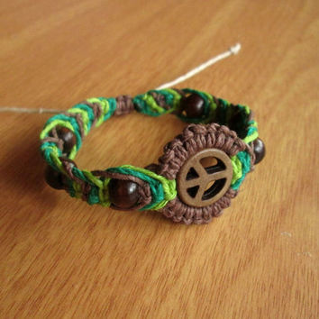 Peace Bracelet, EcoFriendly Jewelry, Hemp Bracelet, Fishbone Knot, Hemp Jewelry, Green and Brown, Wood Beaded Hemp Bracelet