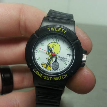 Vintage 90's Looney Tunes Tweety Bird Armitron Watch Retro Cartoon Sports Tennis