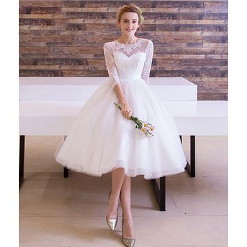 DCCKJ1A Autumn white new bride wedding dress long sleeves short section bridesmaid dress bridesmaid dress