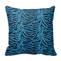 Soft Blue Animal Print Zebra Striped Throw Pillow