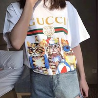 gucci fashion three cats print t shirt