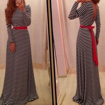 Black-White Striped Sashes Long Sleeve Maxi Dress