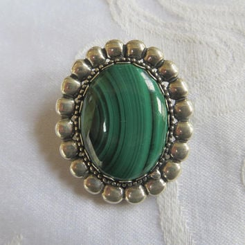 Sterling Malachite Pendant, Beaded Frame, Vintage Sterling Silver Pendant, Signed