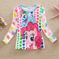 Neat retail 2016 new style comfortable lovely My Little Pony pattern cotton baby girl clothes long sleeved t shirts LD6633#