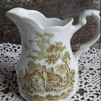 J G Meakin Romantic Pitcher, Green Transferware, English Transferware, Serving