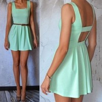 mint green dress with back cut out