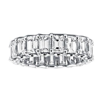 8.01tcw Emerald-Cut Diamond 14K White Gold Full Eternity Band