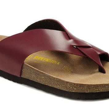 Birkenstock Birki Sandals Leather Wine Red - Ready Stock