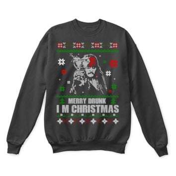 ESBINY Captain Jack Sparrow Merry Drunk I'm Christmas Ugly Sweater