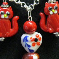 Kitty Cat Red Necklace Earring Set Handmade Lampwork  flower beads,silver chain, fish charms, millefiori,acrylic flowers,crystal rondelles