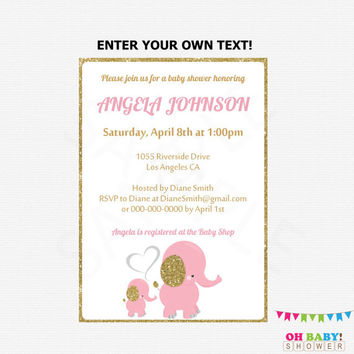 Pink Elephant Baby Shower Invitation, Pink and Gold Baby Shower Invitation Editable Baby Shower Invite Girl Baby Shower Printable EL0004-LPG